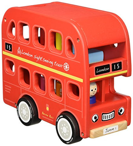 Indigo Jamm Bernie's Number London Bus Playset Toy Vehicle - Sustainable Wood Rubberwood