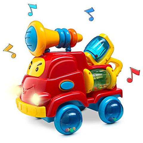 Prextex Pull Apart Rattle Truck Toy for Baby with Lights and Music