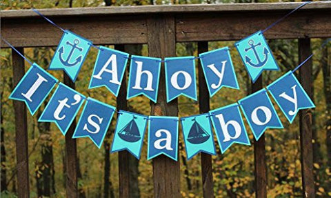 [USA-SALES] It's A Boy Banner, Ahoy It's A Boy, Baby Shower Decorations, By USA-SALES Seller