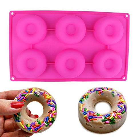 Delidge Premium Baking Pan for Donuts Silicone Bakery Mold Heat Resistance to Bake Circle Shaped Mini Cake Maker Pinch Test Passed (Pink/6-Cavity)
