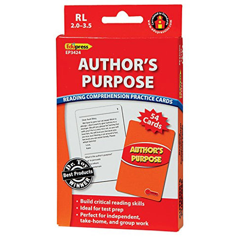 Edupress Reading Comprehension Practice Cards, Author's Purpose, Red Level (EP63424)