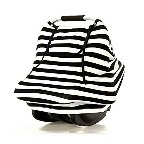 Stretchy Baby Car Seat Covers For Boys Girls, Infant Car Canopy Winter Autumn Spring,Snug Warm Breathable Windproof, Adjustable Peep Window,Insect free,Universal Fit,Black White Stripe-Patented Design