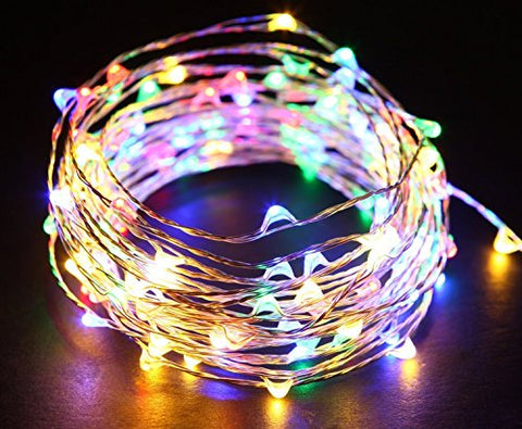 20Feet 120 LED Lights on Silver Copper Wire , Starry String Lights, Indoor/Outdoor Waterproof Decoration Lights for Gardens, Home, Dancing, Party (Multi)