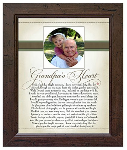 The Grandparent Gift Co. Heart Collection 8x10 Frame, Grandpa's Heart