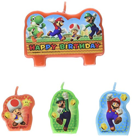 Super Mario Brothers Birthday Party Molded Candle Cake Set Decoration, Wax