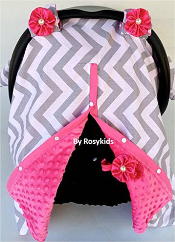 Rosy Kids Infant Carseat Canopy Cover 1pc Wind Proof Baby Car Seat Cover, Sunshade Cover, Boys and Girls, Fits Any Baby Car Seat, Light Grey Chevron Hot Pink Minky
