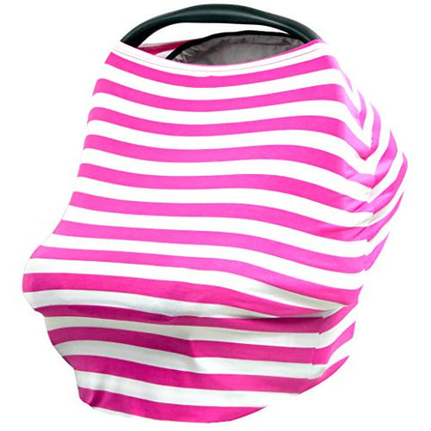 JLIKA Baby Car Seat Covers Stretchy Infant Canopy and Nursing cover for breastfeeding newborns infants babies girls boys gift maternity apron infinity scarf carseats! (Hot Pink White Stripe)