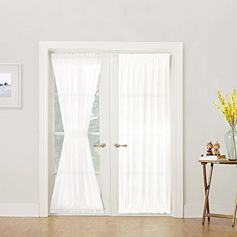 French Door Curtain Panel Linen Look 72 inch Sheer Curtain White, Tieback Included, Sold Individually