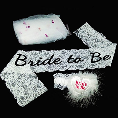 Premium Stylish Decoration Bride To Be Set for Bachelorette Party Supply Kit Cute Naughty Veil with Comb+White Lace Sash+Garter Girls Night Out Game (JJTS)