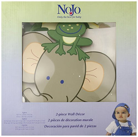 Nojo 2 Piece Wooden Wall Art, Jungle Babies