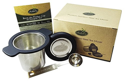 AulivCo Tea Infuser Set Bundle with Mesh Stainless Steel Strainer, Black Silicone Handle, Lid and Teaspoon