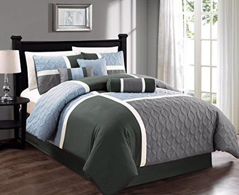 7-piece Quilted Patchwork Duvet Cover Set (Queen, Gray/Charcoal/Blue)