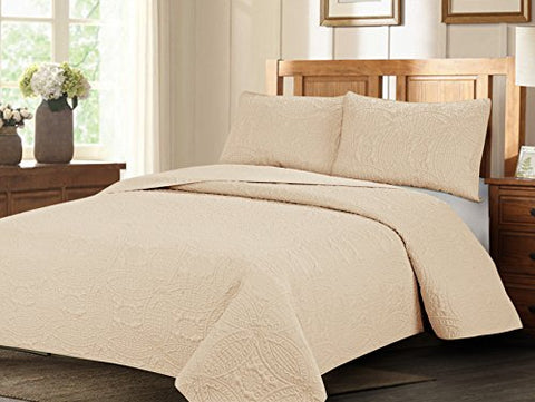 Royal Home Decor 3-pc Bedspread Set with Geometry Pattern (King, Ivory)