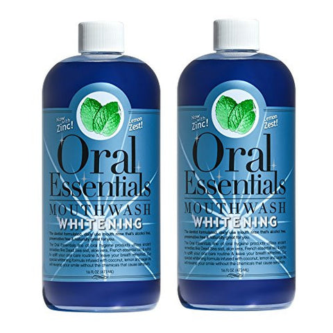 Oral Essentials Whitening Mouthwash  16 Oz: For Daily Use Without Sensitivity Dentist Formulated & Certified Non-Toxic: Removes Stains without Bleach/Harsh Chemicals Whiter Teeth in 10 Days