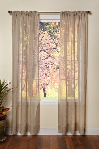 Cotton Craft - Pure 100% Linen Rod Pocket Window Panels - One Pair - Natural 54x96. Hand Crafted & Hand Stitched Sheer Linen panels - Generous 6 inch hem. Enjoy the sophisticated luxury of Pure Linen