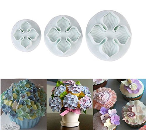Ninewell 3pcs Hydrangea Laurustinus Flower Fondant Cookie Cake Decorating Sugarcraft Plunger Cutters DIY Mold