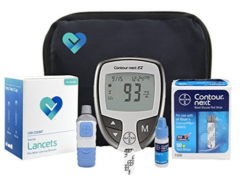 OWell Bayer Contour NEXT EZ Complete Diabetes Blood Glucose Testing Kit, METER, 50 Test Strips, 50 Lancets, Lancing Device, Control Solution, Manual, Log Book & Carry Case