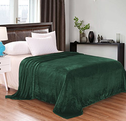 Luxury Queen Size Flannel Velvet Plush Solid Bed Blanket (90  x 90 , Forest Green) - Soft, Lightweight, Warm and Cozy by Exclusivo Mezcla