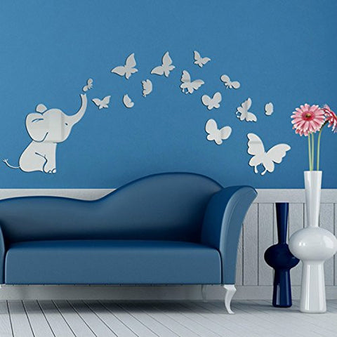 Alrens(TM) Cute Elephant Butterflies Acrylic Mirror Surface DIY 3D Wall Sticker Baby's Room Nursery Decor Creative Mural Decal Art Home Decoration Gift for Kids