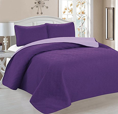 Deluxe Greek Design Reversible 3pc Coverlet Quilt Set BedSpread  FULL/QUEEN Size  Purple / Lavender