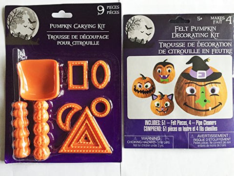 Pumpkin Carving Kit with Felt Pumpkin Decorating Kit (Colors & Contents May Vary)