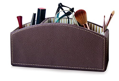 Makeup Organizer Caddy, Cosmetic Holder, eyebrow pencil Holder, 3-Compartment Desktop Organizer, Pen Holder, Pencil Holder, Remote Caddy, Organizer Caddy, Remote Control Holder, Brown Faux Leather
