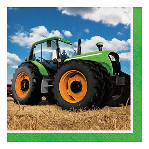 Creative Converting 318051 16 Count Paper Lunch Napkins, Tractor Time