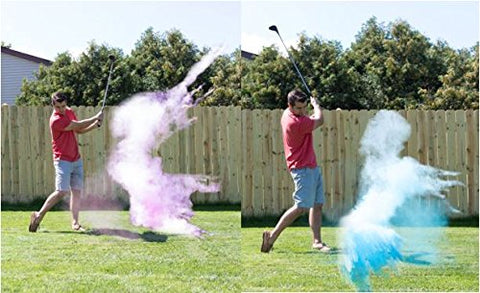 Gender Reveal Exploding Golf Balls Set 1 Pink & 1 Blue Tee Included Great Party Idea or Gift to Announce Sex of Baby Non Toxic