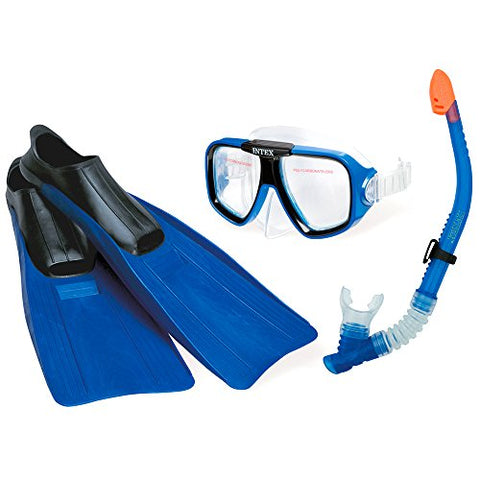 Intex Reef Rider Sports Set for Age 8+, Features Reef Rider Mask, Free-Flo Snorkel and Medium Super Sport Fins Shoe Size 5 to 8