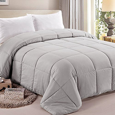 NTBAY Down Alternative Comforter All Season Duvet Insert, Fluffy, Warm and Soft, Queen, Grey