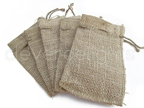 CleverDelights 4 x 6 Burlap Bags with Natural Jute Drawstring - - Small Burlap Pouch Sack Favor Bag for Showers Weddings Parties and Receptions - 4x6 inch