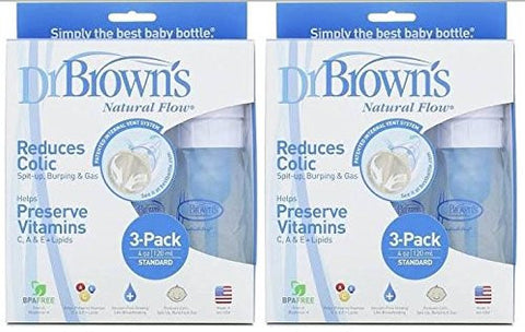 Dr. Browns BPA Free Polypropylene Natural Flow Standard Neck Bottle, 4 oz - 6 Count