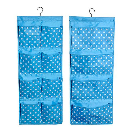 Decor Hut Blue Pola dots hanging organizer, great near changing table or crib, baby clothes or diapers will fit perfectly into this. double sided with large and small pockets,