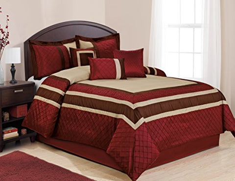 7 Piece MYA Red Bed in a Bag Comforter Sets- Queen King Cal. King Size (Queen )