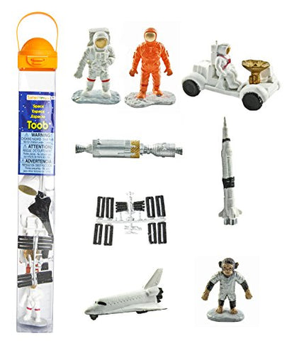 Safari Ltd Space TOOB With 10 Out Of-This-World Toy Figurines, Including 2 Astronauts, 1 Space Chimp, 6 Space Craft, And More! - For Ages 3 And Up