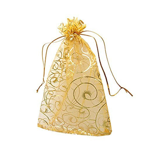 GBSTORE 100 Pcs Champagne Eyelash Organza Drawstring Pouches Jewelry Party Wedding Favor Gift Bags Gold Color Perfect Lace