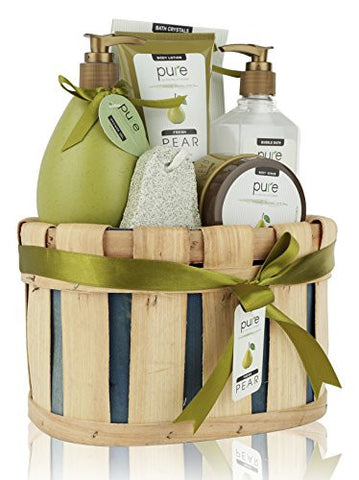 Pure! Rachelle Parker Luxury Pear Spa Gift Basket - Deluxe Edition - Super Size Wrapped & Ready to Gift!