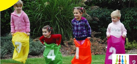 Out Door Jumping Bags Includes 4 Numbered Colorful Bag, Start Finish Line and Ground Pegs