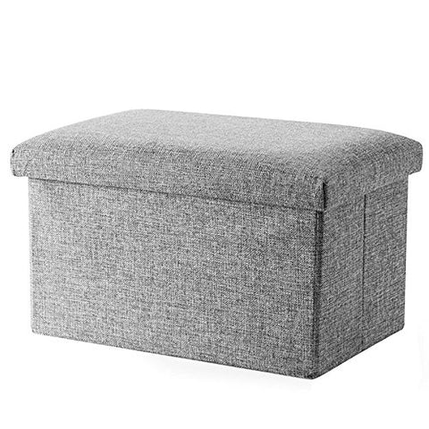 Storage Ottoman, Folding Stool Linen Multi-function Storage Stool Cube Foot Stool,Footrest Step Stool For Living Room, Bedroom, Office, Garden,Organizer Storage Ottoman Bench (Medium 15.7x9.8x9.8 )