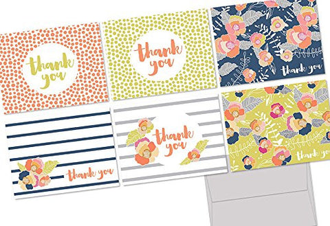 Vibrant Blooms Thank You - 36 Note Cards - 6 Designs - Blank Cards - Gray Envelopes Included