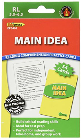 Edupress Reading Comprehension Practice Cards, Main Idea, Green Level (EP63401)