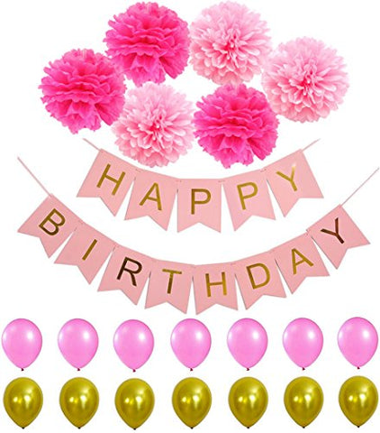 HAPPY BIRTHDAY BANNER POMPOM DECORATIONS - Perfect Party Supplies Kit, Pink Gold Foiled Bunting Flag Garland and Hot Pink & Light Pink Tissue Paper Fluffy Pom Poms (Pastel Pink)