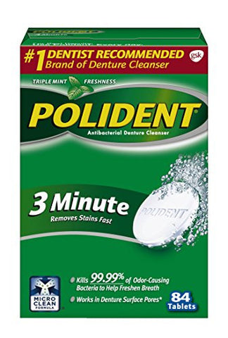 Polident 3-Minute Anti-Bacterial Denture Cleanser Tablets, Triple Mint Fresh, 84 Count