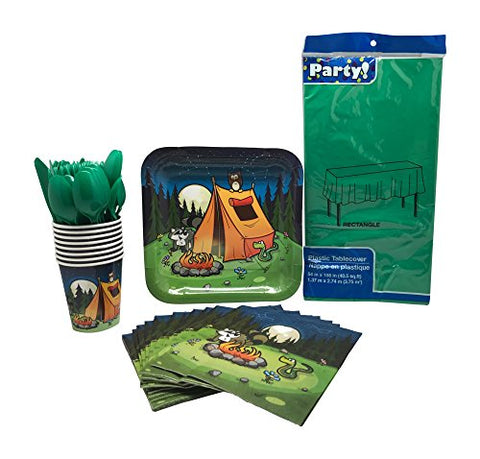 Camping Themed Party Supplies-Includes Camping Party Plates, Cups, Napkins, Cutlery, and Tablecloth