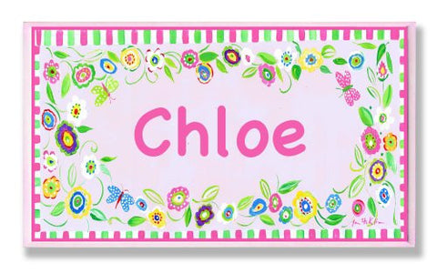 The Kids Room by Stupell Chloe, Pink and Green Border with Flowers Personalized Rectangle Wall Plaque