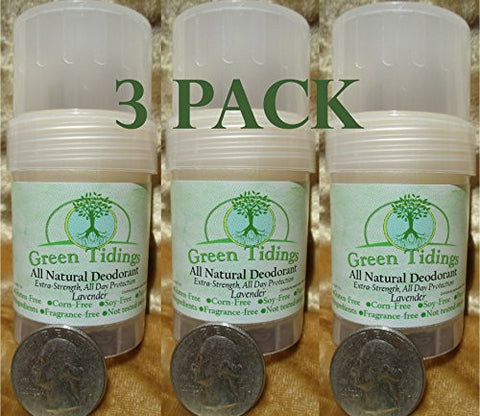 Green Tidings All Natural Deodorant *Extra Strength, All Day Protection* Lavender 1oz (3 PACK- 15% OFF)