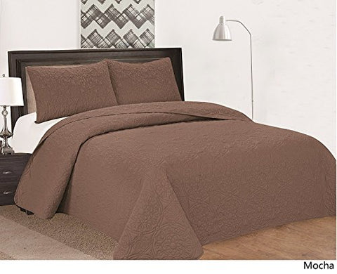 Royal Home Decor 3-pc Bedspread Set with Medallion Pattern (Queen, Mocha)