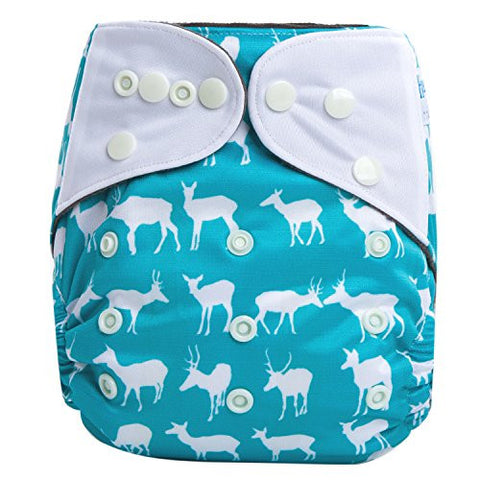 HappyEndings Night, NightTM Charcoal Bamboo All In One Diaper (+Pocket & 5 Layer Charcoal Bamboo Insert) Oh, Deer!