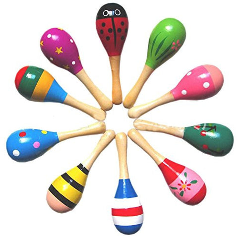 E Support™ New Wooden Maraca Wood Rattles Egg Shaker Kids Musical Party Favor Kid Baby Shaker Sand Hammer Toy