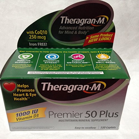 Multivitamin / Multimineral Supplement with Lutein & Lycopene, 130 Caplets. Premier 50 Plus By Theragran-m